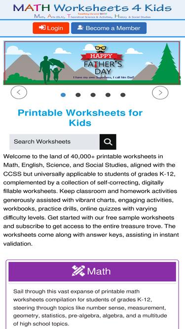 Mathworksheets4kids.com Analytics - Market Share Stats & Traffic Ranking