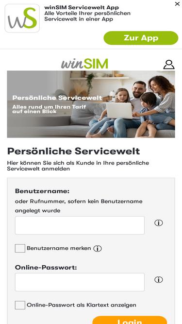 Vergessen und benutzername winsim passwort WinSIM Login,