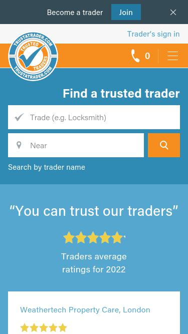 · With the TrustATrader app, finding tradespeople is easier than ever. Simply type in your postcode and the trade you are looking for, and then with a few taps, you will find a comprehensive list of trusted and reliable traders that have been rated and reviewed. You can then contact them directly.4/5().